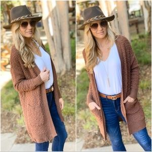 Chestnut Popcorn Cardigan with Pockets